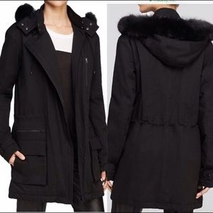 Vince Quilted Genuine Coyote Fur Trim Parka Coat